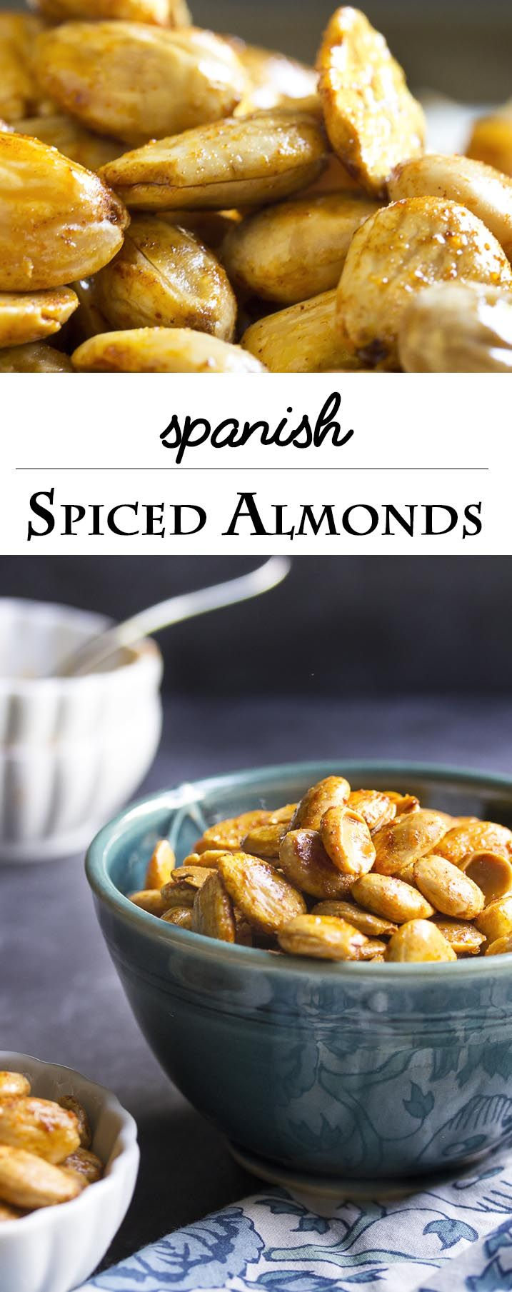 Spanish Spiced Almonds - Creamy, sweet marcona almonds are toasted and tossed in a flavorful paprika-spiked spice blend in this recipe for Spanish spiced almonds.   justalittlebitofbacon.com