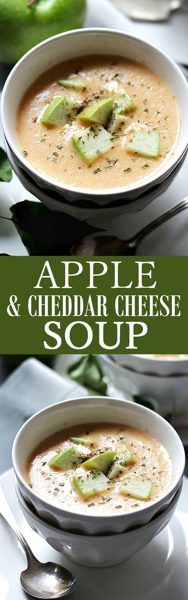 It may sound odd, but this cheesy, creamy and delicious Apple and Cheddar Soup is really, reaaaally good!! Made with tart apples and shredded cheddar cheese, you'll be asking for seconds!