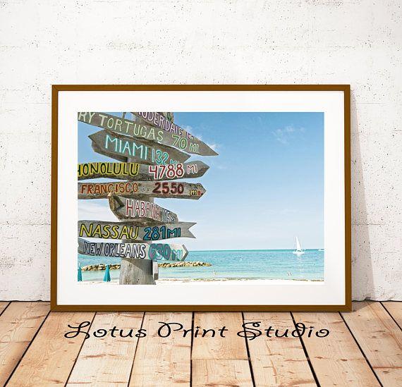 Miami Beach Signs Ocean Water Tropical Wall Art Blue