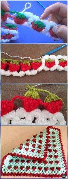 Crochet Puff Strawberry Stitch Free Pattern-Crochet Strawberry Stitch Free Patterns