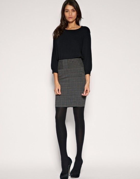 grey pencil skirt outfit - Google Search