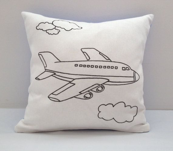 Colouring In Airplane Design Cushion Cover