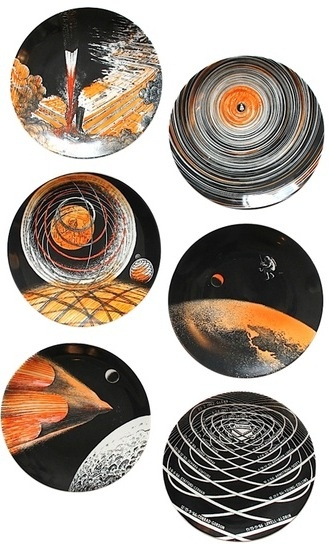 'L'homme dans l'espace' Rare set of six plates by Piero Fornasetti specially commissioned by Paris Match to commemorate the moon landings in the 1960's. Each example numbered and dated 1966. Documented in 'Fornasetti - The Complete Universe' - pg 618