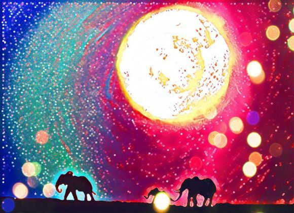 "original abstract animal art print ""Elephants on Rainbow Island"" africa animal artwork A3 11.69 x 16.53 """