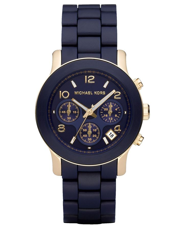Michael Kors Watch, Women's Navy Blue Polyurethane-Wrapped Goldtone Stainless Steel Bracelet 38mm MK5316    I'm thinking this might be on my wrist soon since daddy took his speedmaster back from mee...