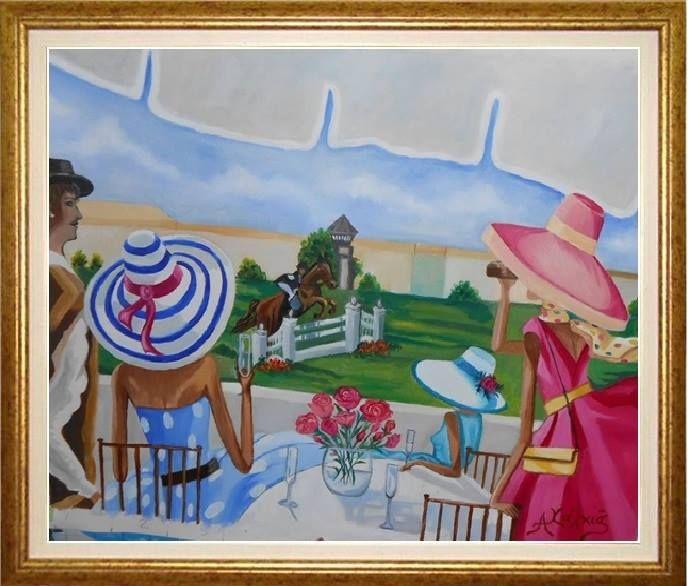 παρακολουθώντας τους αγώνες ιππασίας ΕΛΑΙΟΓΡΑΦΙΑ ΣΕ ΜΟΥΣΑΜΑ cm38 x 55  watching racing riding oil painting on canvas cm38 x 55