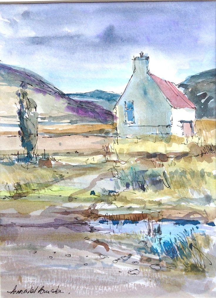 414 best annabel burton images on pinterest for Watercolor cottages