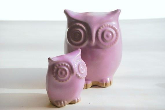 Momma & baby ceramic owl set
