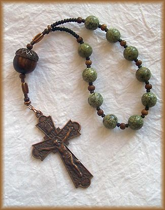 Prayer bead art: Brigid by the Oak variation ii Stone, Horn and Bronze 10-Bead Handmade Chaplet, with acorn bead.