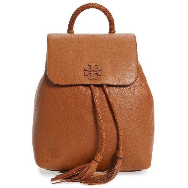 Women's Tory Burch Taylor Leather Backpack ($498) ❤ liked on Polyvore featuring bags, backpacks, saddle, brown leather backpack, day pack backpack, tory burch backpack, leather rucksack and tory burch bags