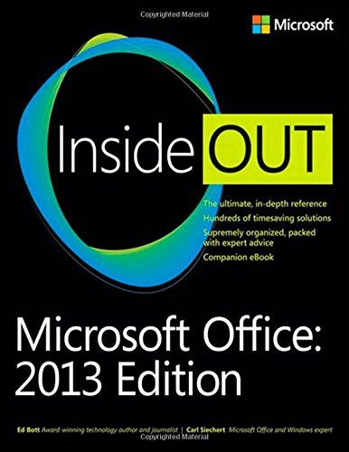 Microsoft Office Inside Out: 2013 Edition. Length: 912 pages. Take advantage of Office in the cloud with Office 365 Get insider tweaks and tips to become more productive Sync your email, calendar, and contacts on multiple devices Organize and edit complex documents with Microsoft Word Enhance Microsoft PowerPoint presentations with rich media Handle data with the Microsoft Excel Quick Analysis tool Get organized with Microsoft OneNote using expert techniques Save, share, and sync...