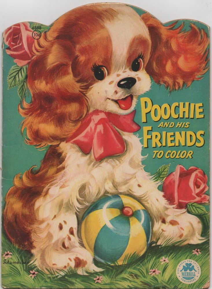 poochie and his friends to color merrill publishing co vintage coloring book - Vintage Coloring Books
