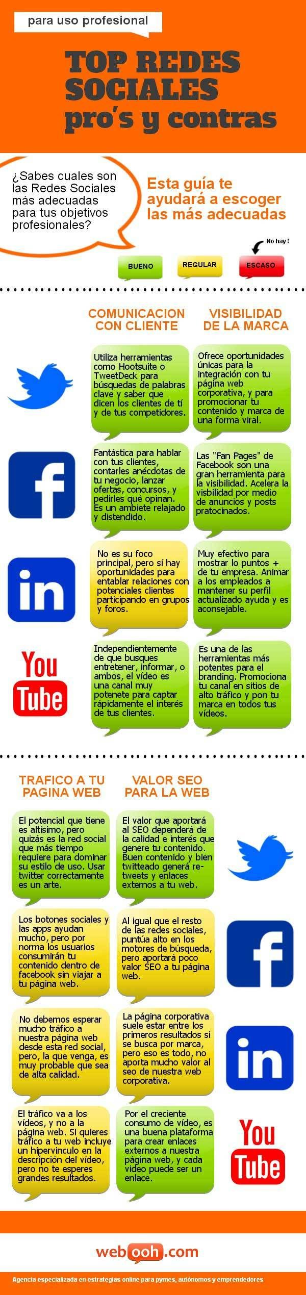 Top Redes Sociales para uso profesional #infografia #infographic #socialmedia