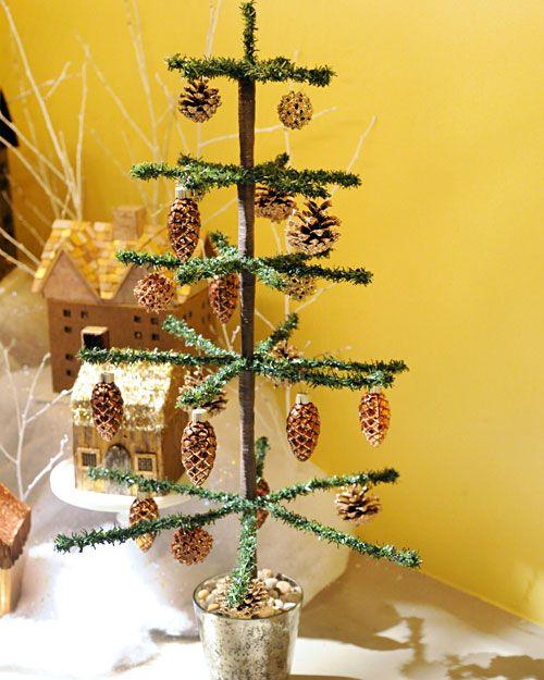 How to make a tabletop tinsel Christmas tree.