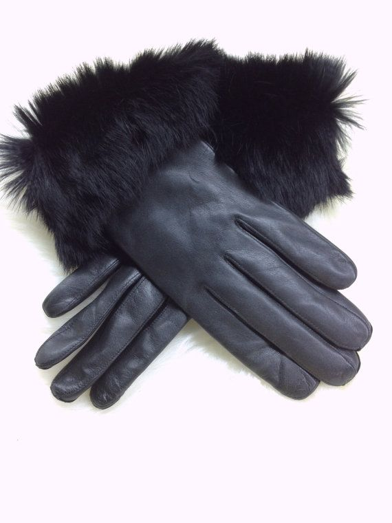 Genuine leather gloves with rabbit fur cuff. by BeFur on Etsy, €34.50