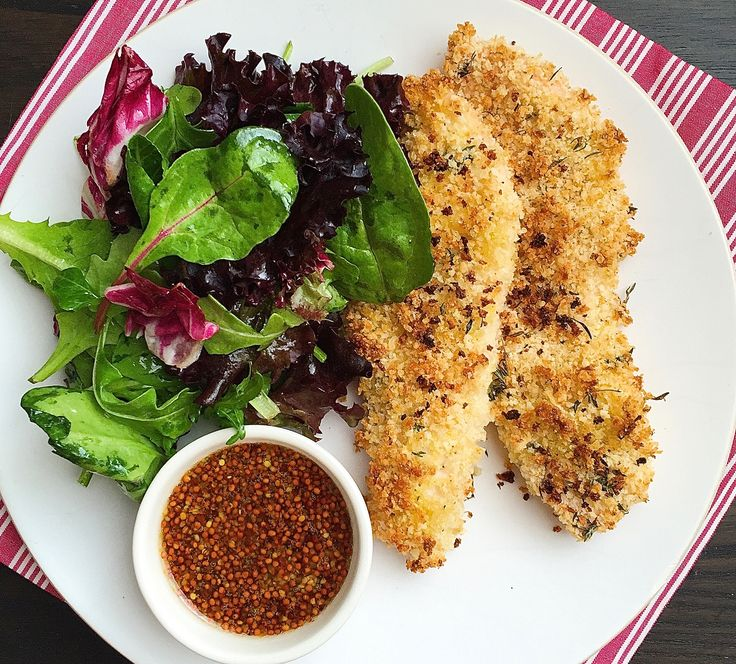 Oven Baked Chicken Fingers with Honey Mustard Dipping Sauce  - Delish.com