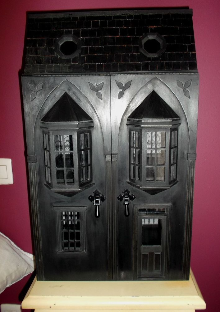 BLACK WOOD DOLLSHOUSE, Goth, Gothic, Dark, Vampiric, Artist handmade, 1:1 #EdwardianGeorgianVictorianGothGothicDarkVampiricBlack