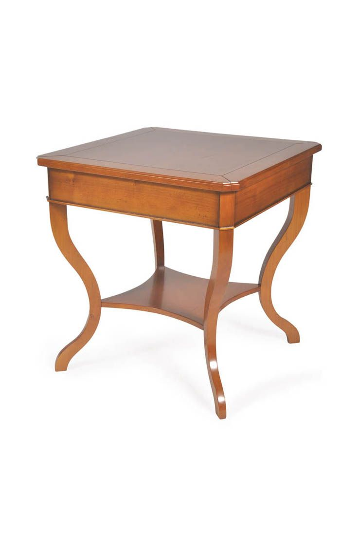 The Asimov occasional table is shown in Cherry wood with a Honeycomb finish.