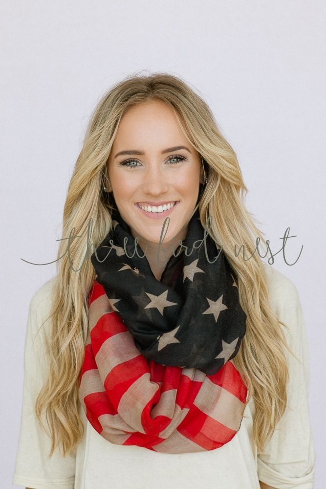 #threebirdnest #springintoit Must have for 4th of July! american flag infinity scarf, $28.99