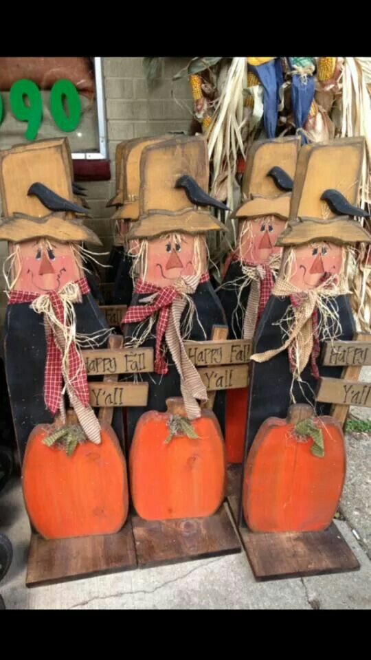 Tall rustic wood scarecrow craft for thanksgiving and or fall craft
