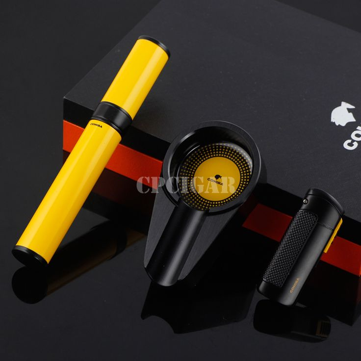 Luxury Gadget Metal Windproof Torch Jet Flame Cigarette Cigar Lighter + Cigar Tube + Metal Ashtray Gift Set CP Cigar Gift