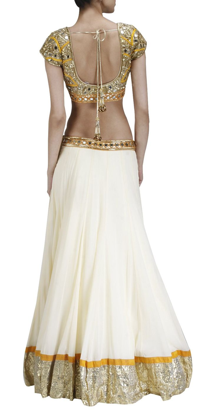 ARPITA MEHTA Offwhite and mango mirror work lehenga Product Code - SS13PQ02AP Price -  Rs. 39,000   Description Offwhite georgette lehenga with gold and mango mirror work blouse and mango chiffon dupatta. COMPOSITION: Chiffon, georgette. CARE: Dry Clean only.