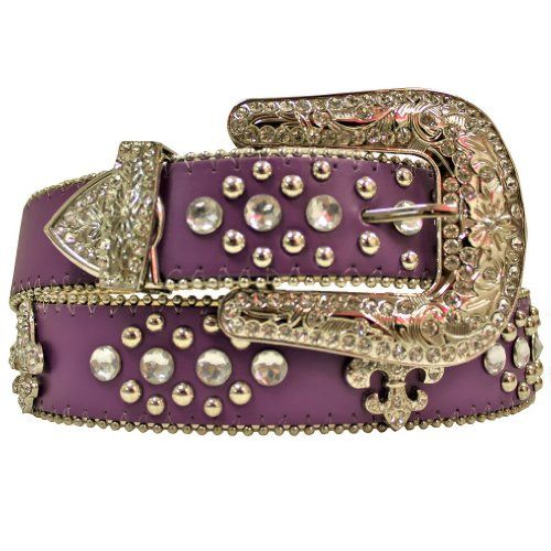 24% Off was $33.00, now is $24.99! Purple Fleur Di Lis Rhinestone Western Bling Belt