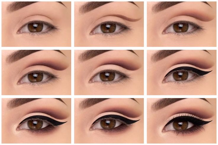 Eye makeup tutorial - step by step instructions for cut crease shadow and bold liner