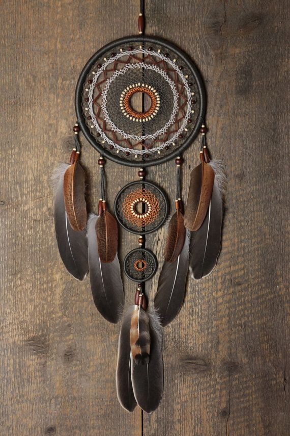 Capteur de rêves / Dreamcatcher / gris brun dreamcatcher / grand dream catcher/Natural/cadeau de Dreamcatcher