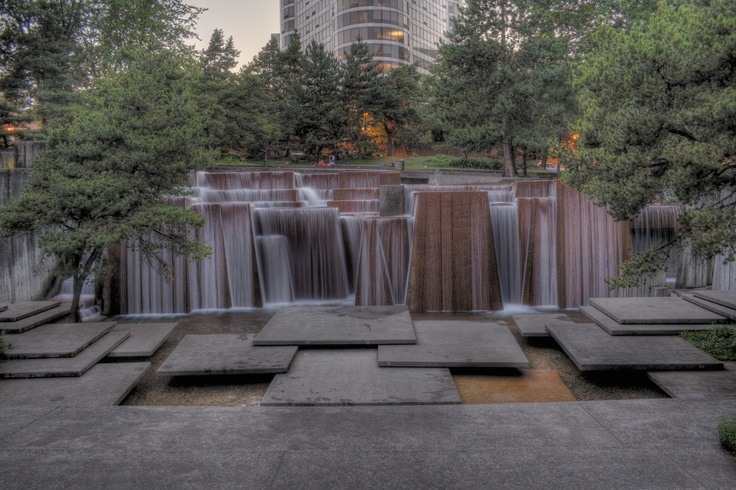Keller fountain portland by the late great lawrence for Garden fountains portland oregon