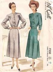 40's New Look Era McCall Dress Pattern 7350 Bust 42