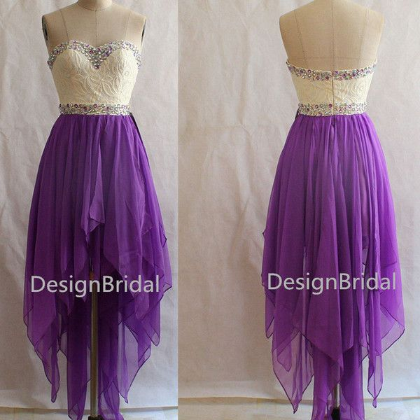 Unique Sweetheart Lace Violet Chiffon Prom Dresses, Short Front Back... ($118) ❤ liked on Polyvore