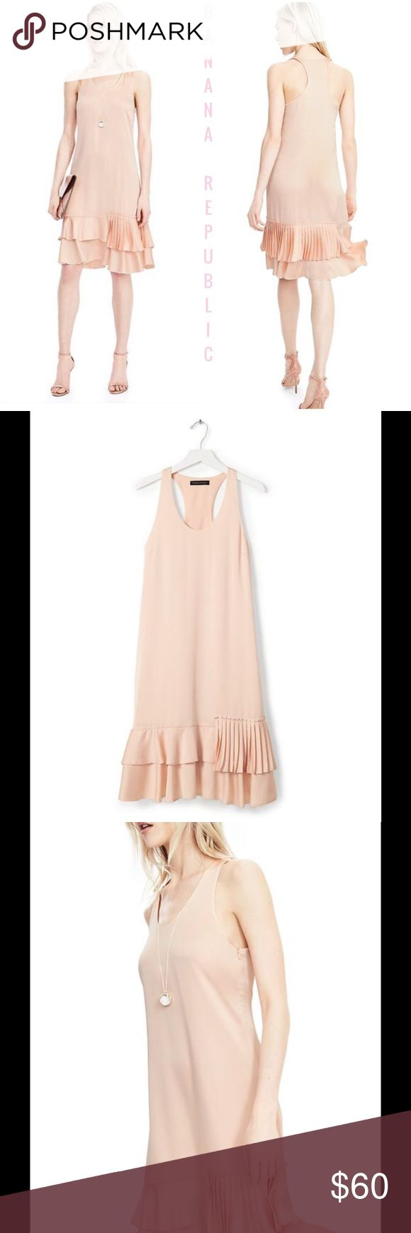 """🆕 Banana Republic Tiered Ruffle Dress ! 💞🎀 Banana Republic Tiered - Ruffle Drop Waist Dress ! 100% polyester ! Beautiful color called """" Blush """" ! Length about 35"""" ! Hits at knee ! Side hidden 15"""" zipper ! Completely lined in same color ! In package ! Gorgeous ! 🎀💞 Banana Republic Dresses"""