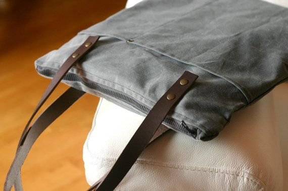 WAXED canvas BAG - wax canvas tote - tote with leather handles - canvas LAPTOP bag - handmade bag on Etsy, $166.04 AUD