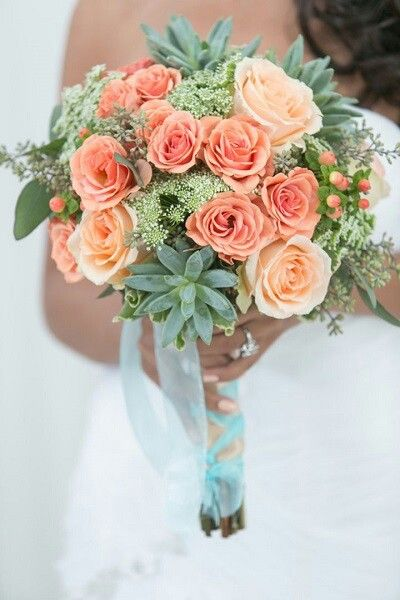 {Coral Roses, Green Succulents, Pink Hypericum Berry, Green Queen Anne's Lace, & Green Seeded Eucalyptus·····}