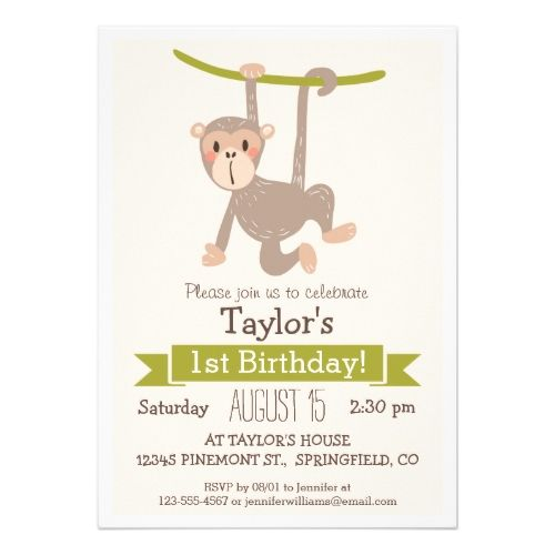 120 best Monkey Birthday Party images on Pinterest Birthday - best of invitation card for new zoo