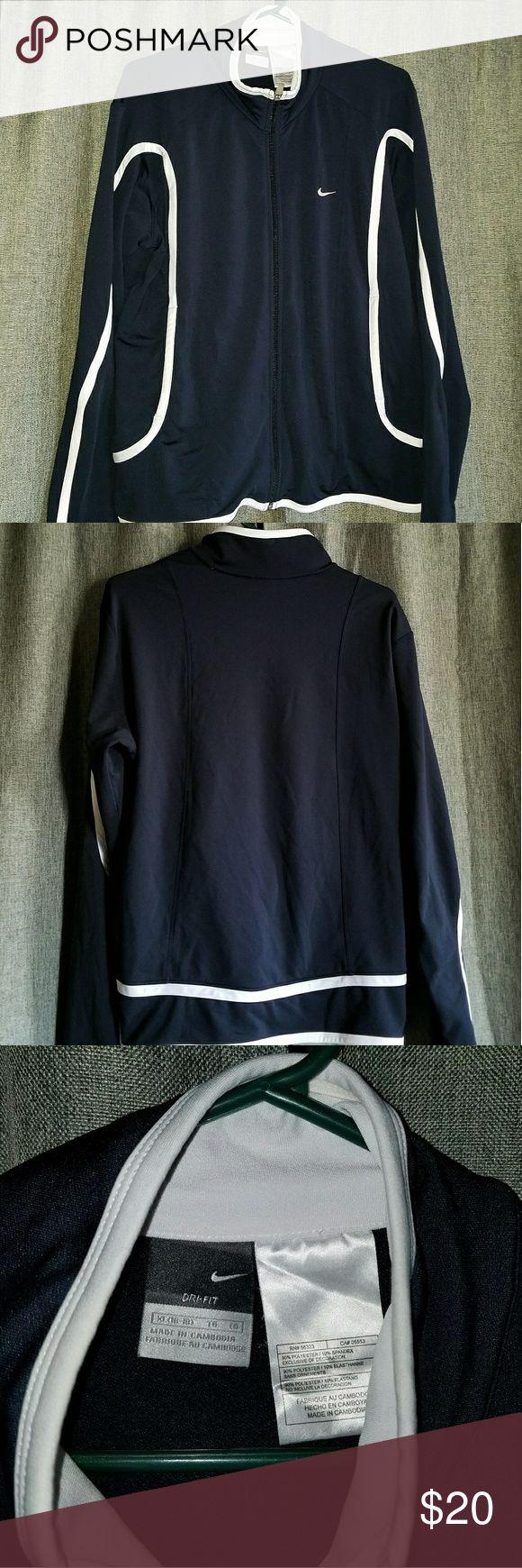Nike women's dri-fit lightweight jacket Nike Women's dri-fit lightweight jacket zip-up jacket, dark blue and white. SIZE XL 16-18 Nike Tops Sweatshirts & Hoodies