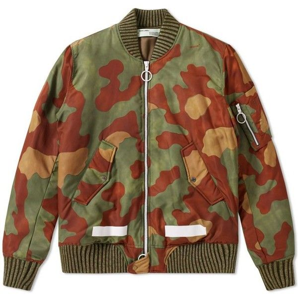 Off-White Camo Bomber Jacket ($250) ❤ liked on Polyvore featuring outerwear, jackets, off white camouflage jacket, camo jacket, off white bomber jacket, camouflage jacket and camoflage jacket