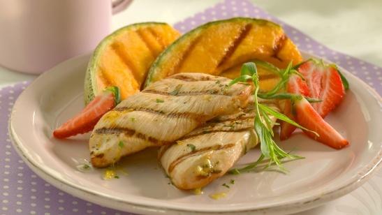 Kalkunbiff med grillet frukt - Turkey steak with grilled fruit