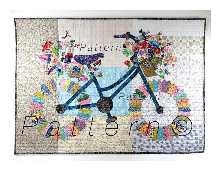 Whimsical Bicycle - Art Quilt PATTERN - Original Design Wall Art - Cycle Art - Modern Floral Bike - Sally Manke, Fiber Artist by SallyManke on Etsy