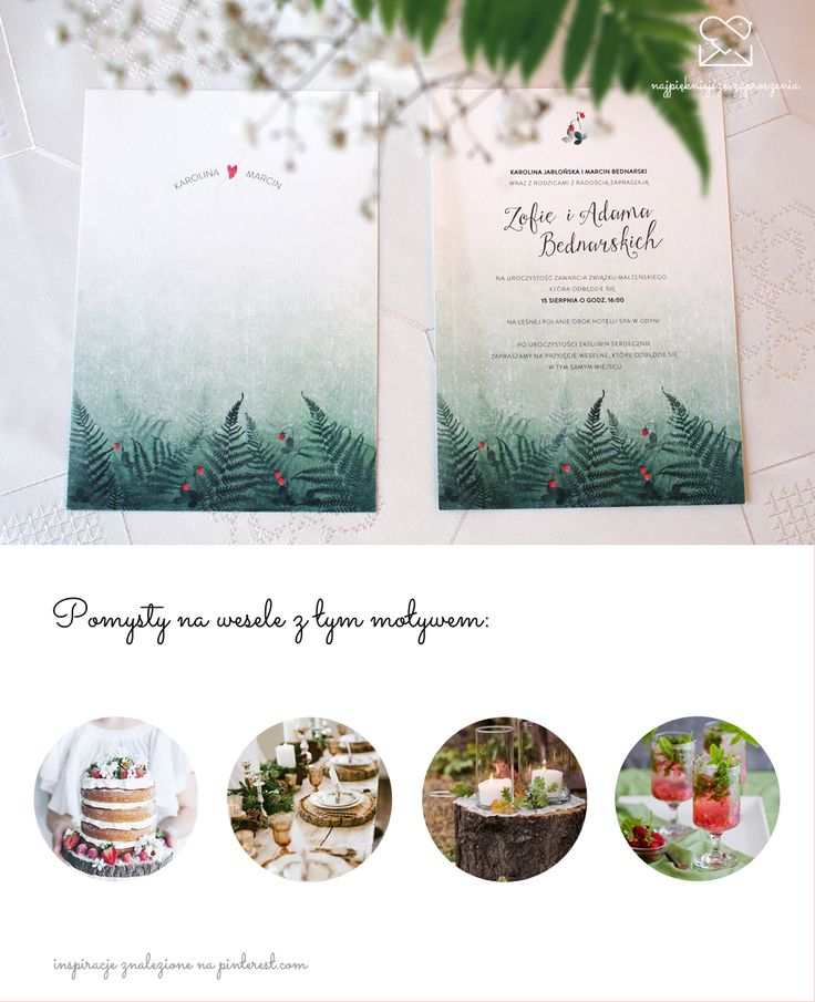 Motyw leśny - papeteria ślubna zaproszenia ślubne // Forest wedding stationery theme, rustical wood ferns strawberries wedding invitations, green red mint color palette, inspirations  http://najpiekniejsze-zaproszenia.pl/motyw-las/
