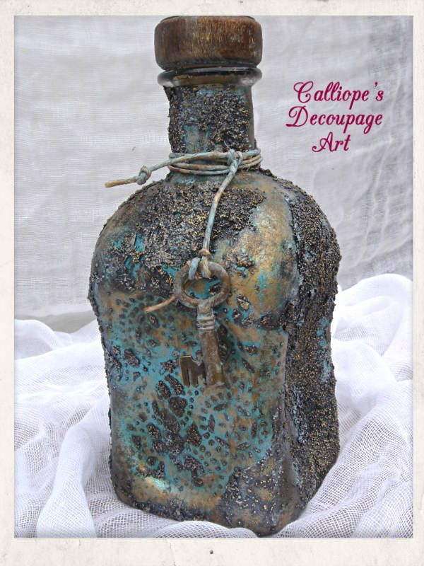 Decorative bottle | Table Decoration | Calliope's Decoupage Art | Handmade Decorative Creations & Decoupage Workshops