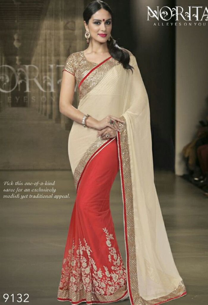 Red Lycra Net Georgette Saree 9132