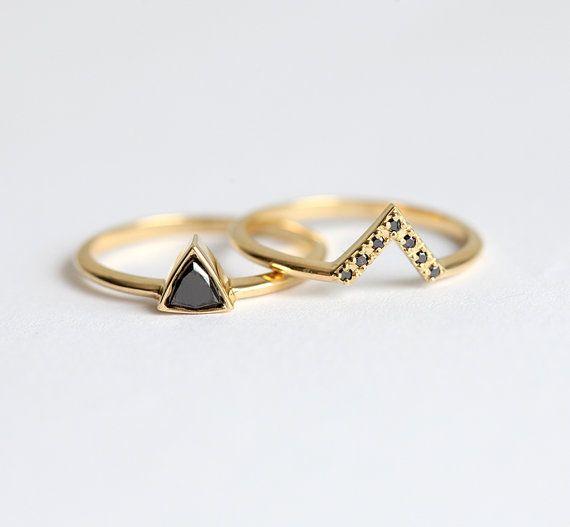 Diamante negro Set de anillo de bodas de diamante por MinimalVS