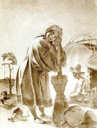 KAZAKH GIRL. Sepia on paper. 1856