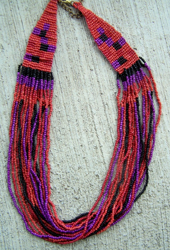 Vintage Jewelry  Loom Beaded Necklace in Indian by papercherries, $18.90