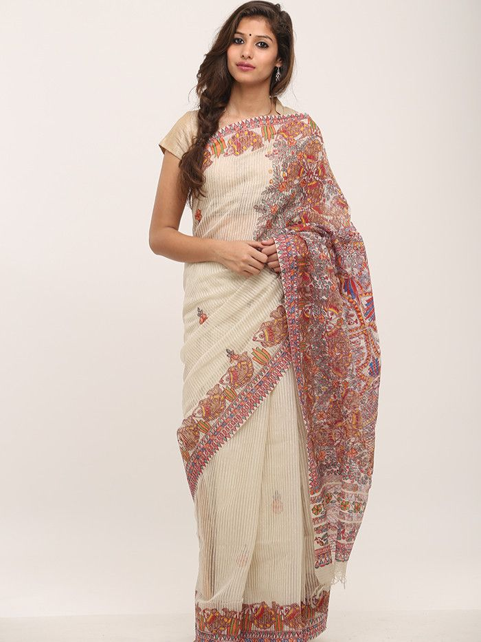 Off White Red Madhubani Organza Silk Saree