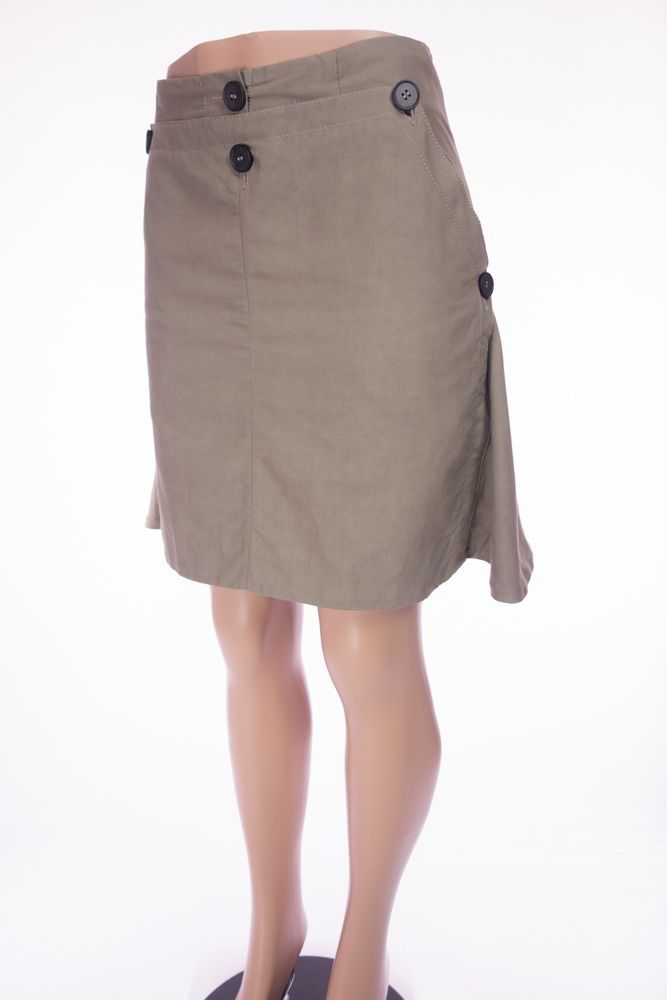 MARNI Winter Edition 2011 Skirt 40 4 6 S Khaki Canvas Flare Button Wide Hem #Marni #FullSkirt