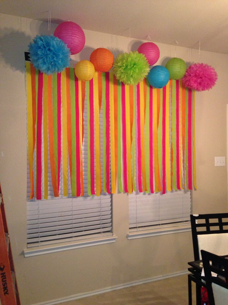 Cake Table Backdrop Streamers Tissue Lanterns And