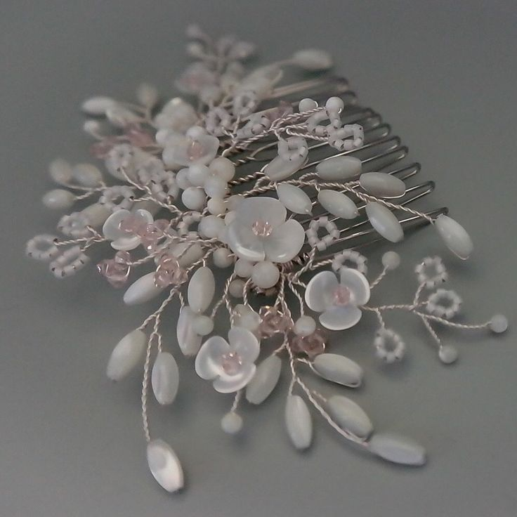 Magnolia mother of pearl hair comb with tiny Swarovski crystals in blush (silk) and Ivory opal Miyuki Dlica seed beads Design: Magnolia in silver and blush